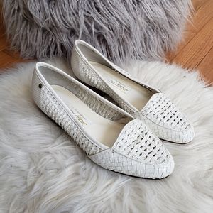 Etienne Aigner White Woven Leather Flats